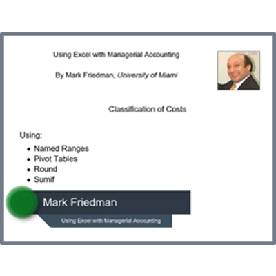Learning Excel in Managerial Accounting – Mark Friedman Accounting icon